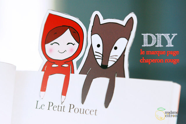 diy le marque page du petit chaperon rouge imprimable madame citron blog de cr ations et diy. Black Bedroom Furniture Sets. Home Design Ideas