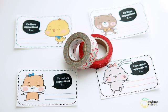 étiquettes cahier