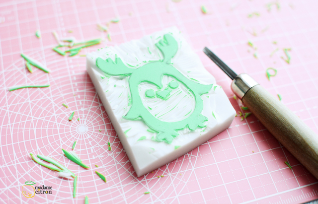 gravure tampon gomme