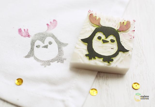 tampon pingouin gravure