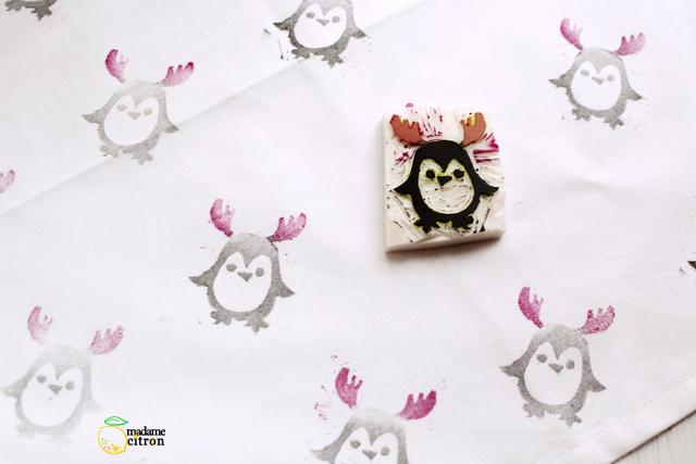 motif tissu pingouin