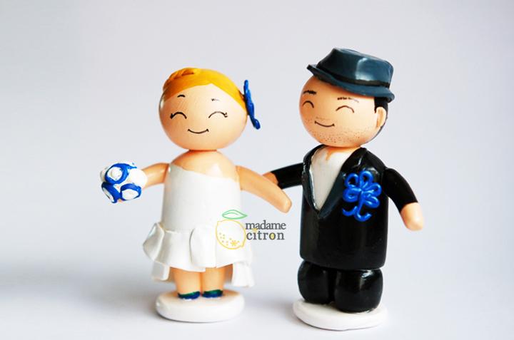 figurines mariage couple chapeau
