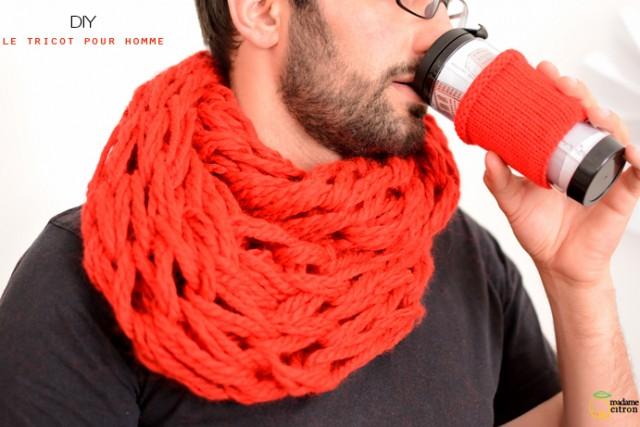 tricoter un snood homme